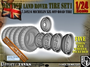 1-24 Land Rover 750x16 Tires And Wheels Set1 in Smooth Fine Detail Plastic