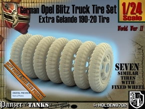 1-24 Opel Blitz Tire 190x20 FUD Set2 in Smooth Fine Detail Plastic
