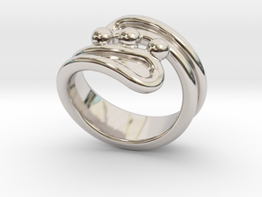 Threebubblesring 18 - Italian Size 18 in Rhodium Plated Brass