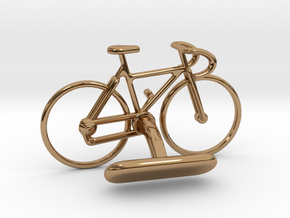 Racing Bicycle Cufflink in Polished Brass