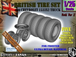 1-25 Chevy LRDG Tire And Rims FUD Set3 in Smooth Fine Detail Plastic