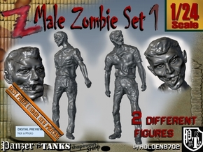 1-24 Male Zombie Set1 in White Natural Versatile Plastic