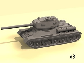 1/160 T-34-85 tank (3) in Smooth Fine Detail Plastic