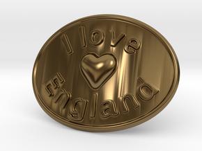 I Love England Belt Buckle in Polished Bronze