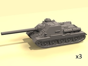1/144 SU-100 tank hunter in White Processed Versatile Plastic
