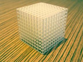 Mesh Cube in White Natural Versatile Plastic