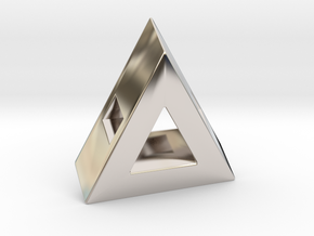 40 Degree ::: Triangle Pendant ::: v.01 in Rhodium Plated Brass