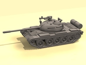 1/100 scale T-55 tank (low detail) in White Processed Versatile Plastic