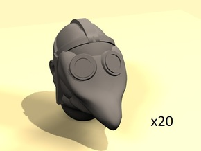 28mm Primitive gas mask bold heads (20) in Smoothest Fine Detail Plastic