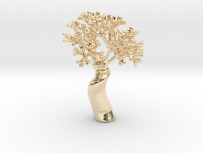 A fractal tree in 14k Gold Plated Brass