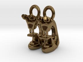 Microscope Earrings  in Polished Bronze