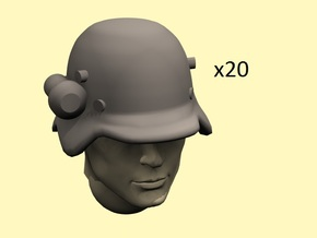 28mm early German helmets with flashlight in Smoothest Fine Detail Plastic
