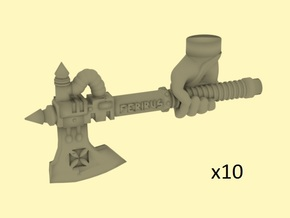 28mm Steampunk axes with human hand in Frosted Extreme Detail
