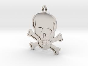 Skull & Crossbones Pendant in Rhodium Plated Brass