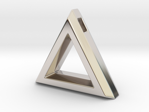 Chisel ::: Triangle Pendant ::: v.01 in Rhodium Plated Brass