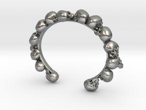 Human Skull Bracelet  in Natural Silver