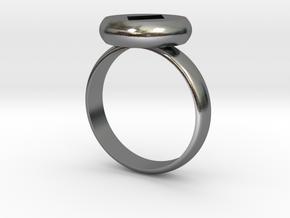 Ring Diamond PrintPrep Size7 V02.stl in Polished Silver: Medium