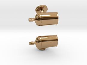 Bourbon Bottle Cufflinks in Polished Brass