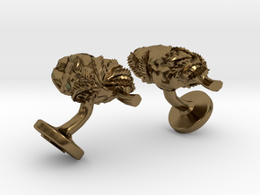 Cannabis Nugget Cufflinks in Polished Bronze
