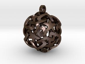 12-Stars sphere pendant in Polished Bronze Steel