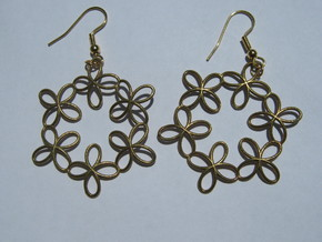 Basin 2 1 Earrings in Natural Brass