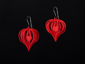 Earrings Heart In Heart - 2 Pcs in White Natural Versatile Plastic