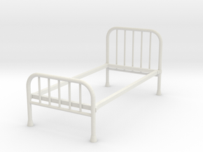 1:24 Iron Bed 1 (Not Full Size) in White Natural Versatile Plastic