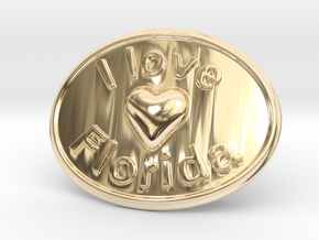 I Love Florida Belt Buckle in 14K Yellow Gold