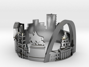 St.Louis Skyline - Cityscape Ring in Polished Silver: 8 / 56.75