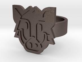Boar Ring in Polished Bronzed Silver Steel: 8 / 56.75
