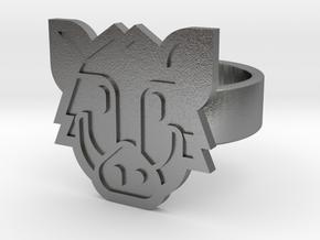 Boar Ring in Natural Silver: 8 / 56.75