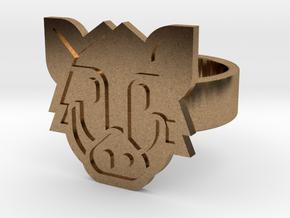 Boar Ring in Natural Brass: 8 / 56.75