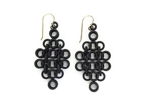 Geometric Statement Earrings in Black Natural Versatile Plastic