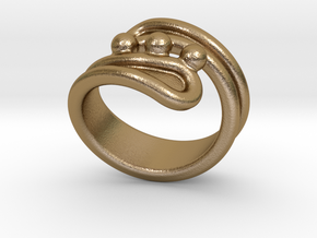 Threebubblesring 19 - Italian Size 19 in Polished Gold Steel