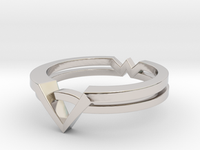Wonder Woman Theme Ring Size from US 5 to US 11 in Rhodium Plated Brass: 5 / 49