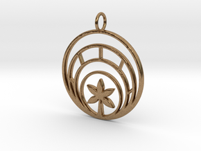 Plant In Circle Pendant Charm in Natural Brass