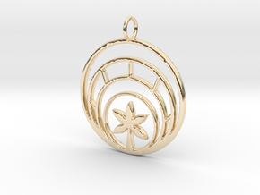 Plant In Circle Pendant Charm in 14K Yellow Gold