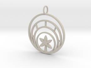 Plant In Circle Pendant Charm in Natural Sandstone