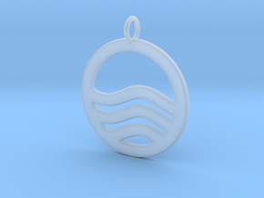 Sea Ocean Waves Symbol Pendant Charm in Smooth Fine Detail Plastic