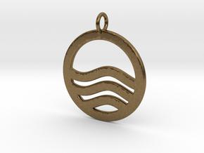 Sea Ocean Waves Symbol Pendant Charm in Natural Bronze