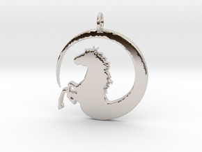 Pretty Horse In Circle Pendant Charm in Rhodium Plated Brass