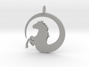 Pretty Horse In Circle Pendant Charm in Aluminum