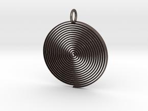 Minimalist Spiral Pendant in Polished Bronzed Silver Steel
