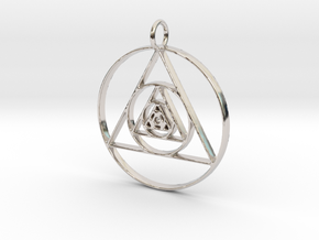 Modern Abstract Circles And Triangles Pendant in Platinum