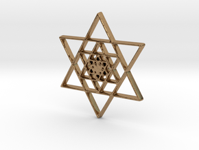 Infinite Jewish Symbol Pendant Charm in Natural Brass