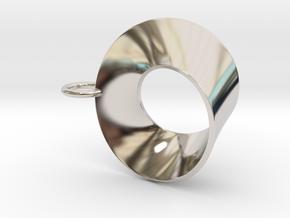Moebius pendant with loop in Rhodium Plated Brass