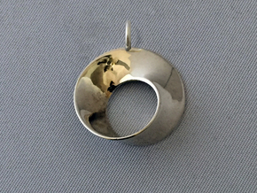 Moebius pendant with loop in Polished Silver
