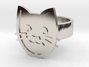 Cat Ring in Rhodium Plated Brass: 8 / 56.75