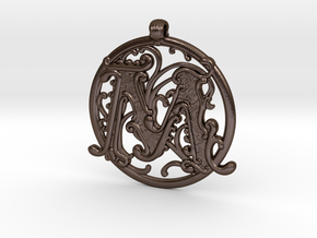 "Fantasy ""M"" Pendant in Polished Bronze Steel"