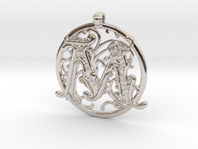 "Fantasy ""M"" Pendant in Rhodium Plated Brass"